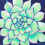 "Original Painting - Succulent on Navy - Acrylic in 8""x8"" Canvas"