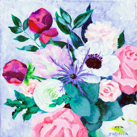 "Original Painting - Rose, Anemones & Peony - Acrylic in 8""x8"" Canvas"