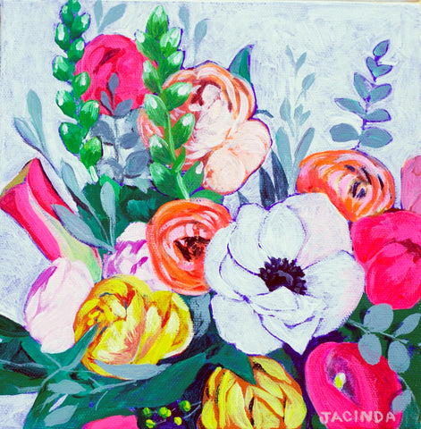"Original Painting - Neon Florals - Acrylic in 8""x8"" Canvas"