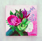 "Original Painting - Proteas Floral - Acrylic in 8""x8"" Canvas"