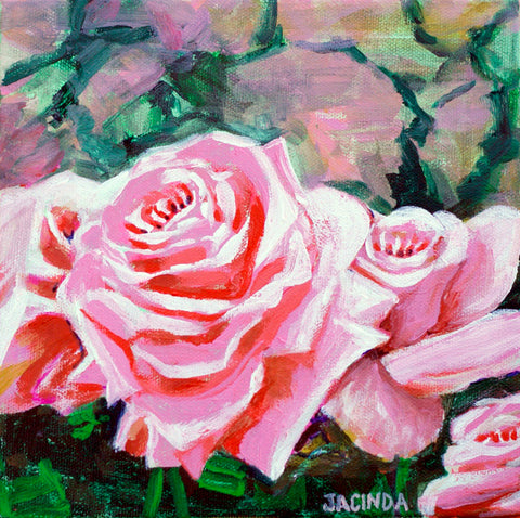 "Original Painting - Rose Garden - Acrylic in 8""x8"" Canvas"