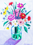"Original Painting - Wildflowers in Mason Jar - Acrylic in 9""x12"" Canvas"