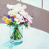 "Original Painting - Jar of Flowers - Acrylic in 10""x10"" Canvas"