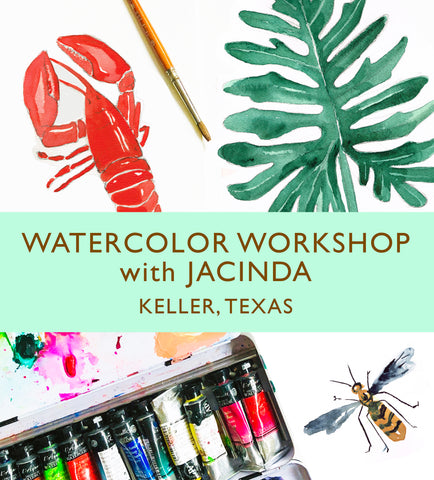 Watercolor Workshop with Jacinda: Roanoke, TX - 2 Class Deal