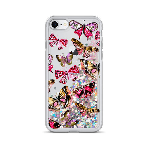 Watercolor Butterfly Liquid Glitter Phone Case