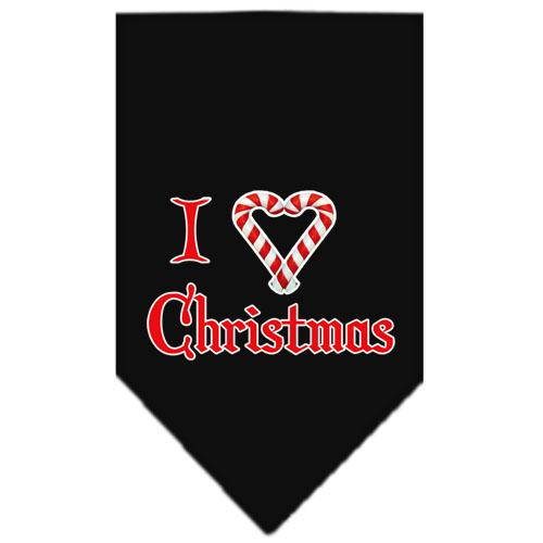 Heart Christmas Screen Print Bandana Black Large