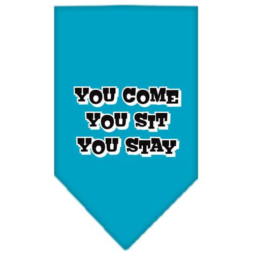 You Come, You Sit, You Stay Screen Print Bandana Turquoise Large
