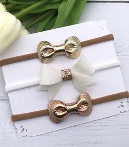 Cream and Gold Bow Set