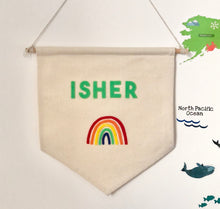 Load image into Gallery viewer, Personalised Rainbow Felt Wall Banner