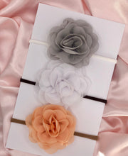 Load image into Gallery viewer, Grey / White / Peach Shades - Chiffon Flower Bow