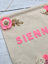Load image into Gallery viewer, Personalised Floral Felt Wall Banner