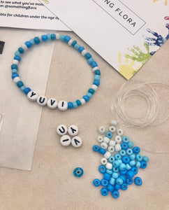 Blue & White - DIY Personalised Bracelet Kit