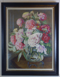 Large watercolour painting: Peonies in glass vase (artist: unknown)