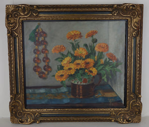 Oil painting on canvas: Marigolds in a lustre jug with amber beads (artist: Dorothy Priestly Caton-Woodville, 1959)