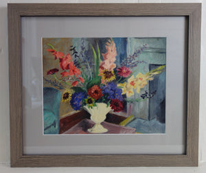 Oil painting on paper: Flowers from the artist's garden at Piper's Field, Winchester (artist: Margaret Niven ROI)