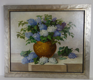 Oil painting on board: Vase of lilacs (artist: C Richard)