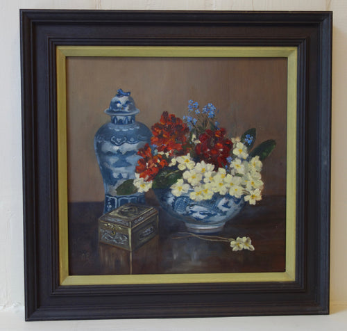 Oil painting on board: Summer flowers in Chinese bowl with jar (signed