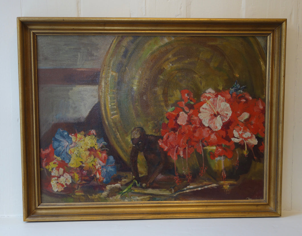 Oil painting on canvas: Hibiscus flowers, brass tray and figurine (artist: Gabrielle Levy)