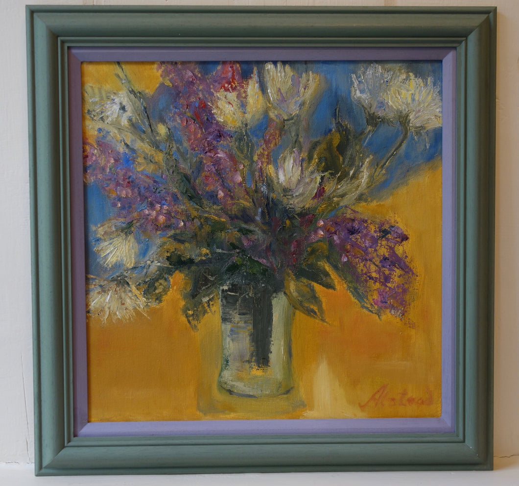 Oil painting on board: Jar of flowers (artist: Joy Alstead)