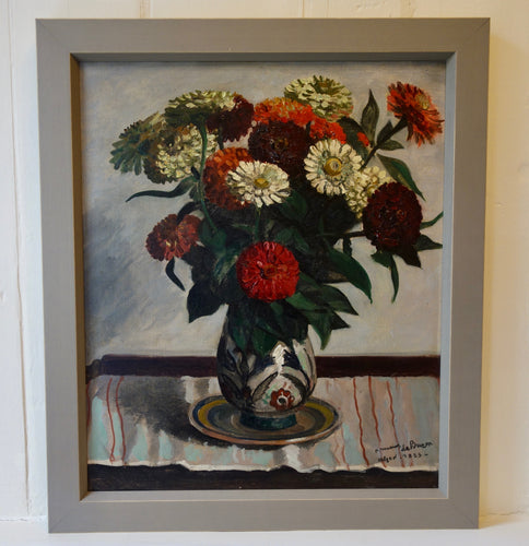 Oil painting on canvas: Zinnias in a Majolica vase (artist: Frederic Marius de Buzon, 1933)