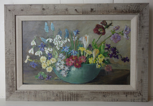 Oil Painting on board: Spring flowers in a glass bowl (artist: Dorothy Priestly Caton-Woodville)