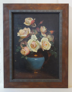 Oil painting on board: Roses in a lustre jug (artist: Beatrice Bright)