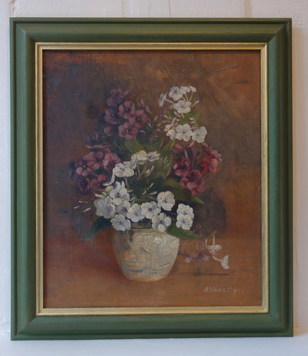 Oil painting on canvas: Phlox in white vase (artist: Alfred Coe)