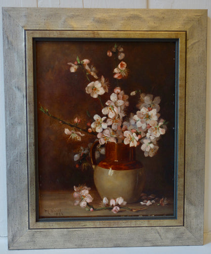 Oil painting on board: Cherry blossom in an earthenware jar (artist: M Snell, 1894)