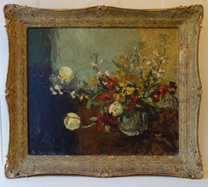 Oil painting on board: Glass vase of spring flowers (artist: R Hodgkinson)