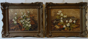 Pair of oil paintings on board: Winter flowers (artist: Pam Hewitt)