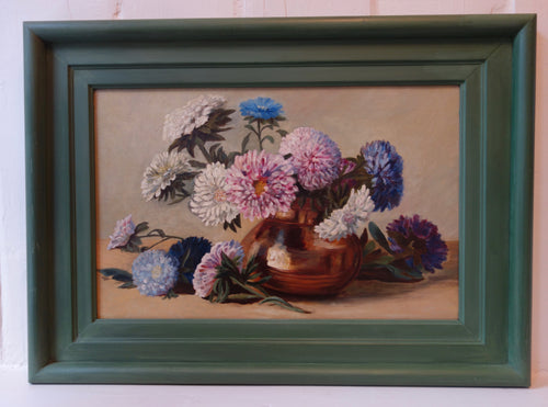 Oil painting on board: Chrysanthemums in a copper vase (artist: F H Wood)