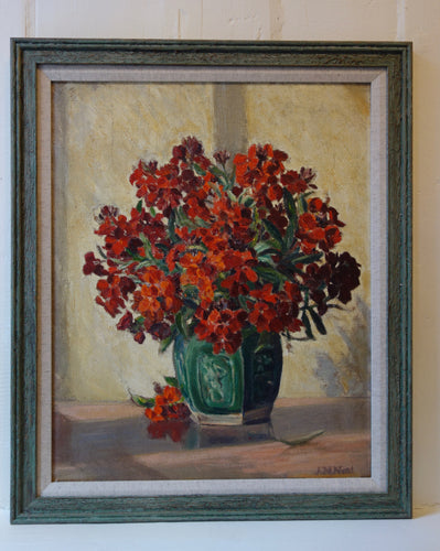 Oil painting on board: Red phlox in a green vase (artist: J N Neal)