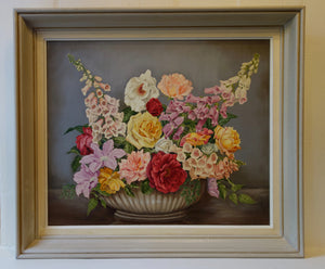 Oil painting on board: Summer flowers (artist: E Harris)
