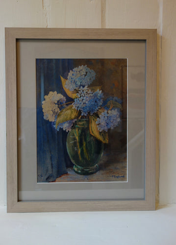Watercolour painting on paper: Hydrangeas in a glass vase (artist: F England)