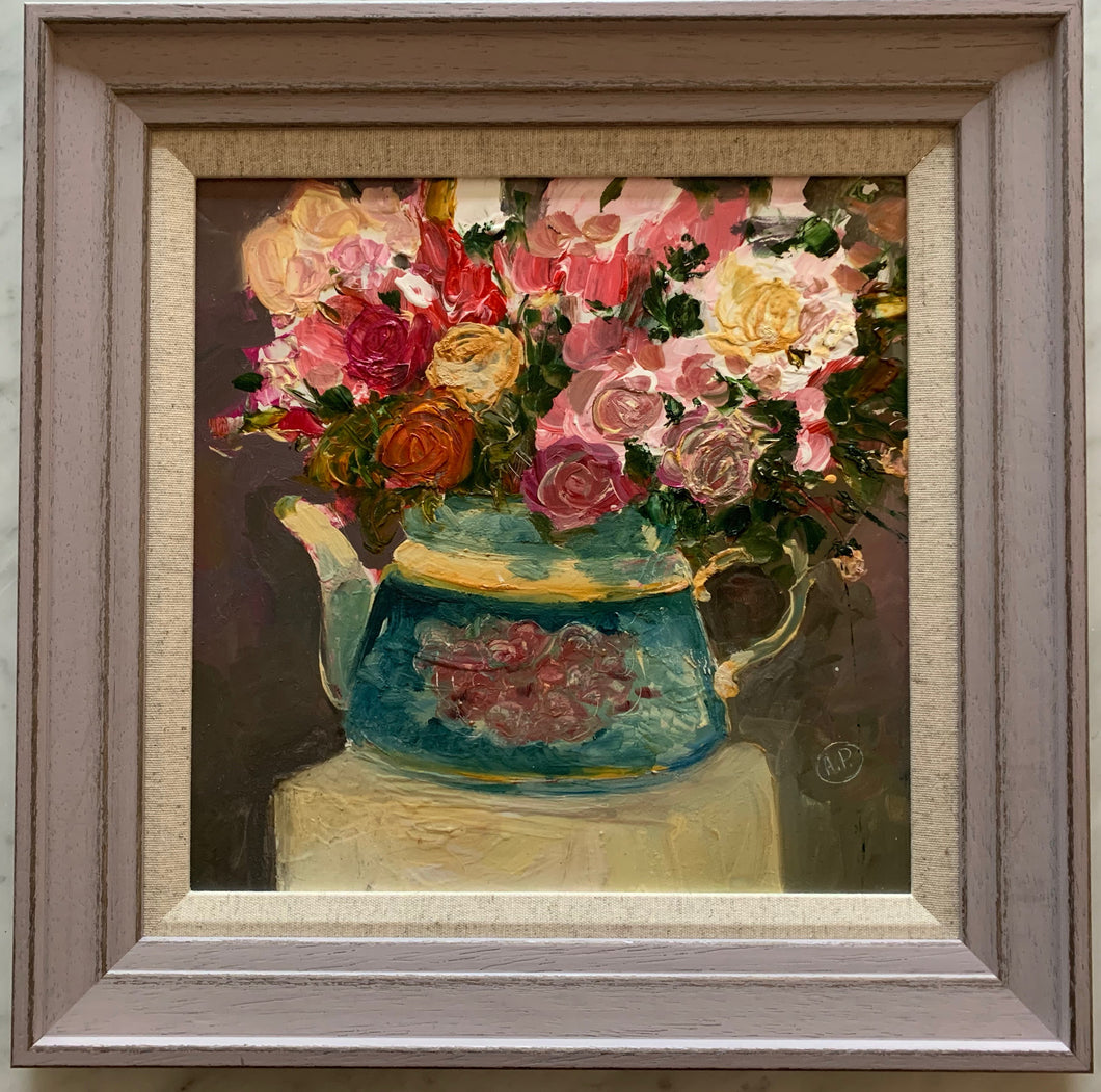 Oil painting on canvas: Flowers in a teapot (Alexei Petrenko)