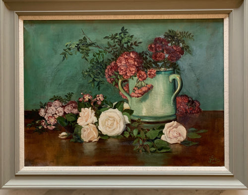 Oil painting on canvas: Roses in a turquoise mug (artist's signature indistinct)