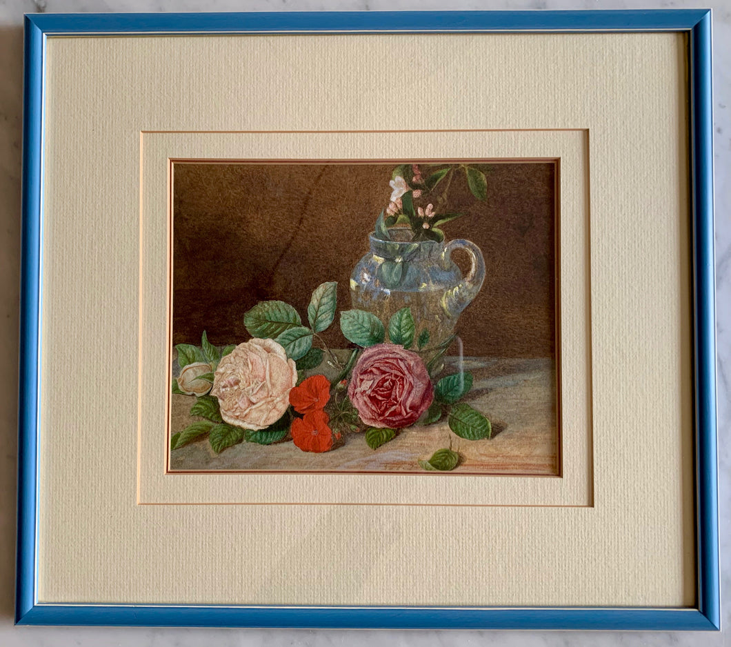 Watercolour painting on paper: Roses and a glass jug (artist: unknown)