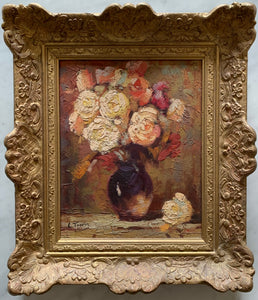 Oil painting on canvas: Peach and pink roses in a vase (artist: L Toppin)