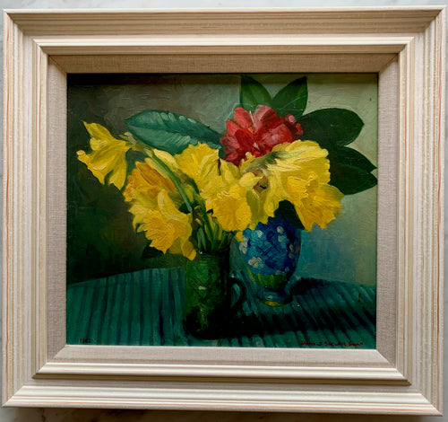 Oil painting on board: Daffodils and a camelia (artist: Donald Sinclair Swan)