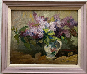 Oil painting on board: Lilacs in a jug (artist: Claude Bernard 1926-2016)