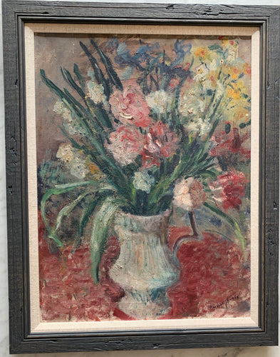 Oil painting on canvas: Vase of spring flowers (artist: Pauline Glass, 1908-1979)
