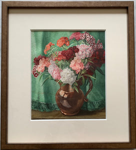 Watercolour on paper: Sweet williams in a lustre jug (artist: Arthur Rigden Reed 1879-1955)