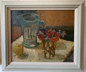 Oil painting on board: Anemones and glass pitcher (indistinctly signed)
