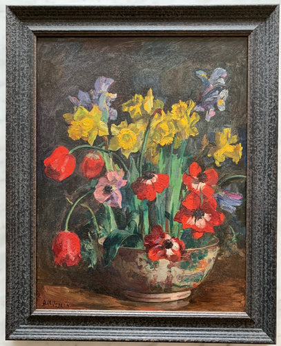 Oil painting on canvas:  Spring flowers in a 'famille rose' bowl (artist: A M Veness)