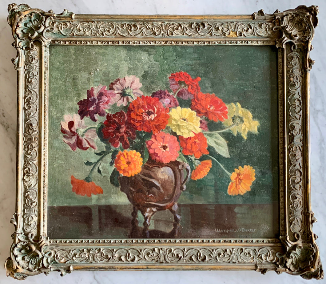 Oil painting on canvas: Zinnias in a bronze pot (artist: Winifred M Dexter)