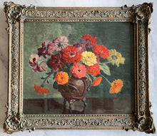 Load image into Gallery viewer, Oil painting on canvas: Zinnias in a bronze pot (artist: Winifred M Dexter)