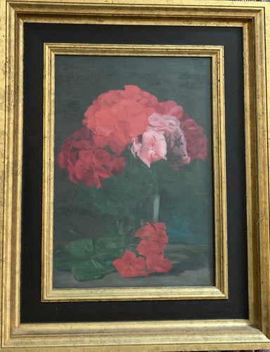 Oil painting on canvas: Red and pink pelargoniums in a glass vase (artist: Alexander Matheson McLellan RSW, 1872-1957)
