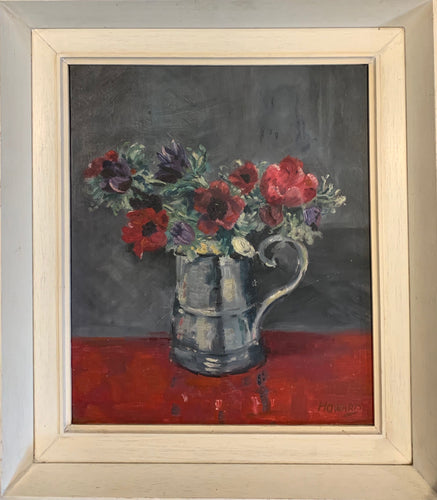 Oil painting on board: Anemones in a silver tankard (artist: 'Howard')