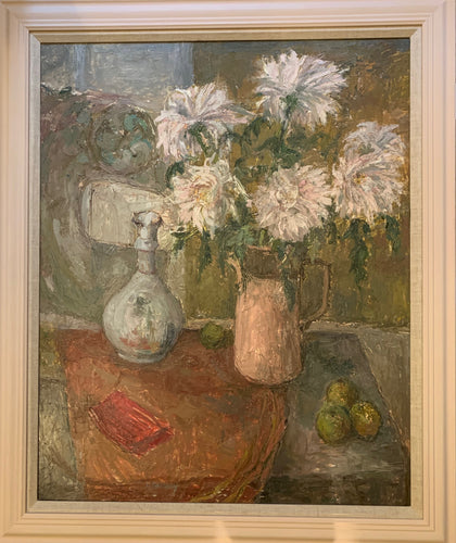 Oil painting on canvas: Dahlias in a pink jug (artist: Madelene Galloway)
