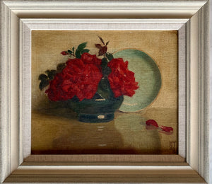 Oil painting on board: Red roses with a turquoise dish (artist Frederick Boyd Waters 1879-1967)